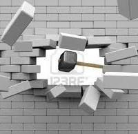 壁にあたる